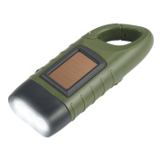Emergency Flashlight Hand Crank, Simpeak Portable LED Flashlight Hand Crank Solar Powered Dynamo Carabiner Energy Rechargeable Flashlight Torch for Camping Climbing Hiking, Green