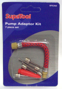 PUMP ADAPTOR KIT 7 PIECE SET FOR FOOTBALLS AIRBEDS BICYCLE TYRES