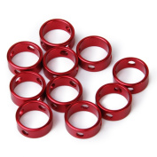 10pcs Anti Slip 3-Hole Alloy Cord Rope Fastener Guyline Runners for Camping Hiking---Red