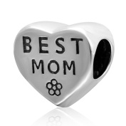 Charmstar Best Mom Heart Charm Antique 925 Sterling Silver Mother Bead for Pandora Charms Bracelet