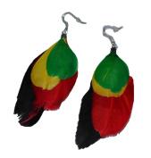 MM Women's Green Yellow Red Black Rasta Feather Hoop Earrings with Silvertone 7.6cm Long