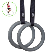 Elite Gymnastics Rings - Non Slip Buckles - Full Body Strength and Crossfit Training - Includes a Jump Rope