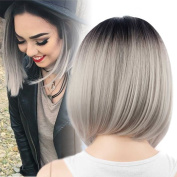 Netgo Bob Wig Grey Ombre Wigs Short Straight Synthetic Hair Lace Full Wig for Women