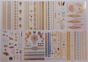 Best Flash Metallic Tattoos (8 Large Sheets) Temporary Fake Jewellery Bracelets Wrist & Arm Bands in Gold Silver & Turquoise , Non Toxic and Waterproof , Great Gift for Women & Girls to Review