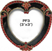 Vintage Heart Shaped Red Rhinestones Accent Black Enamel Metal Picture Frame