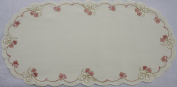 Valentine or Wedding Linen Doily with Pink Hearts and White Bows Accented with Gold Thread.