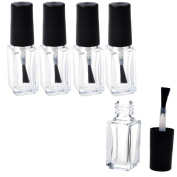 Adecco LLC Empty Nail Polish Clear Bottles with Brush Cap