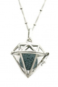 Radiant Large Diamond Lava Stone Essential Oil Diffuser Necklace- 80cm