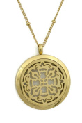 Relic Gold Filigree Long 316L Stainless Steel Silver Essential Oil Diffuser Necklace- 80cm