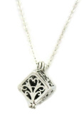 Wish Prayer Box Silver Essential Oil Diffuser Necklace- 46cm