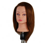 ZDella 100% Human Hair 41cm - 46cm Mannequin Head Hairdresser Training Head Manikin Cosmetology Doll Head