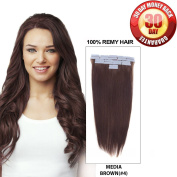 BellaBeauty Human Remy Seamless Tape in Hair Extensions Straight 20pcs Strands 30g Per Set 41cm