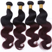REINE T1B 99J Red Wine Ombre Burgundy Human Hair With Closure Body Wave Burgundy Malaysian Hair Weave Bundles With Lace Closure