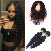 Tony Beauty Hair Deep Wave Full Lace Frontal Pre Plucked 360 Band Lace Closure With 2 Bundles Peruvian Deep Wavy Virgin Human Hair Weaves Extensions 3Pcs Lot