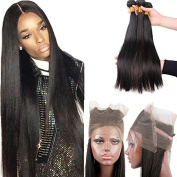 Fushen Hair 360 Lace Frontal with Bundles 3pc Straight Human Brazilian Virgin Hair with Closure