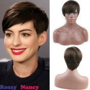 Rossy & Nancy Virgin Brazilian Glueless Silky Straight Human Hair Short Wigs with Side Bang Brown colour for Black Women