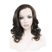 Synthetic Lace Front Wig Medium Hair Length Wave Dark Brown