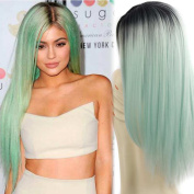 Synthetic Wigs Long Straight Ombre Wig Heat Resistant Fibre Mint Green Black Roots Full Wigs for Woman
