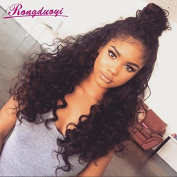 Rongduoyi Loose Curly Wave Lace Front Human Hair Wigs Glueless 130% Density Brazilian Virgin Brazilian Wigs With Baby Hair For Black Woman Natural Colour 36cm