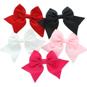 My Lello Medium 14cm Girls Classic Boutique Tails Grosgrain Hair-Bow Mixed Pinks Variety 5 Pack Red/Black/White/Light Pink/Shocking Pink