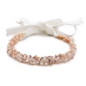 Mariell Rose Gold Crystal Cluster Bridal Wedding Headband Hair Vine - White Ribbons