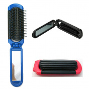 BeautyN Folding Hair Brush with Mirror Compact Size Black/Blue/Pink Random Colour
