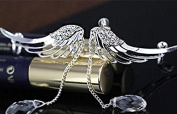 Top McKinleyAngel Fairy Wings Crystal Long Fringe Earrings Pierced Ears without Ear Clip