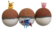 Pokemon Pokebomb Bath Bombs Pack of 3 Gift Set Basket with Lush Shea Butter and Epsom Salts - Surprise Toy Inside - Handmade Fizzies with Natural Ingredients - Moisturising for Dry and Itchy Skin