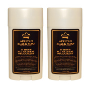 Nubian Heritage 24 Hour All Natural Deodorant African Black Soap With African Black Soap Extract, Shea Butter, Grapefruit Seed Extract, Vitamin E and Sandalwood Oil, 70ml (64 g) each