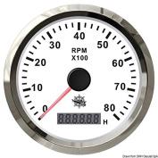 Osculati 27.327.04 - Revolution counter 0-8000 RPM white/glossy