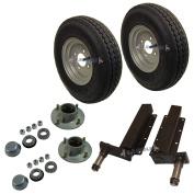 500kg Trailer Suspension Units Hub Bearing 10cm PCD 4 Stud Wheel Tyre 1020cm x 20cm 4PLY