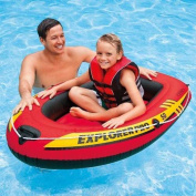 Explorer Pro 50 Kids Swimming Pool Fun Inflatable Safety Ride-on Boat Black-red