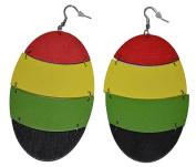 MM Women's Rasta Dangling Hoop Wooden Earrings with Silvertone 9.5cm Long Oval