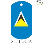 St. Lucia Flag Dog Tags - 3 Pieces