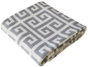 Cotton Knitted Stroller Nursery Baby Blanket, Greek Key design, Heather grey, 80cm x 100cm