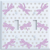Purple Dragonfly Switch Plate Covers Double Toggle / Dragonfly Nursery Wall Decor