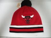 Mitchell and Ness NBA Chicago Bulls Big Logo Cuffed Knit Pom Beanie Cap