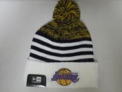 New Era NBA Los Angeles Lakers Coach Cuffed Knit Beanie Cap with Pom