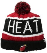 47Brand NBA Miami Heat Logo Team Stripe Cuffed Knit Beanie Cap with Pom