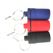 Mini Pill Can with Keychain Plastic Assorted Colour Red Blue Black