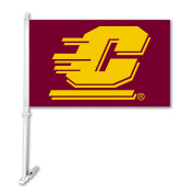 NCAA Central Michigan Chippewas Car Flag with Wall Bracket, Maroon, One Size