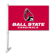 NCAA Ball State Cardinals Unisex NCAA Car Flag with Wall Bracket, Red, One Size