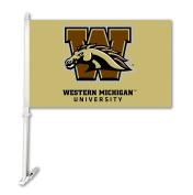 NCAA Western Michigan Broncos Unisex NCAA Car Flag with Wall Bracket, Brown, One Size