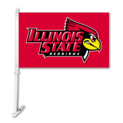 NCAA Illinois State Redbirds Unisex NCAA Car Flag with Wall Bracket, Red, One Size