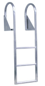Dock Edge + 3 Step Flip Up Welded Dock Ladder - Metallic