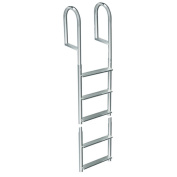 Dock Edge + 5 Step Fixed Welded Dock Ladder - Metallic