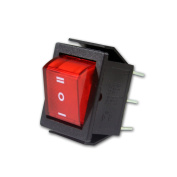 10 X Mini-Rocker Switch Red 2-Pole 250V / 15A