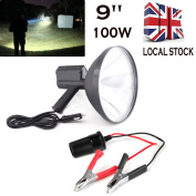 Light up to 1500 metres 8000 Lume 12V 100W HID 9 Inch 240mm Handheld Camping Hunting Fishing Super Strong Light Spotlight Off Road with a Free Battery conversion clip
