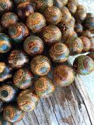 Beautiful 12mm Round Tibetan Beads, Full Strand TB22
