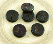 4pcs Picasso Green Brown Travertine Matte Rustic Dragonfly Flat Coin Round Czech Glass Beads 17mm